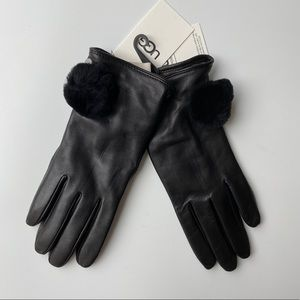 UGG | Black Leather Pom Gloves